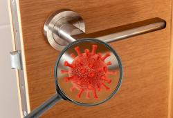 Wirus SARS-CoV-2 badany na klamce nie był zaraźliwy